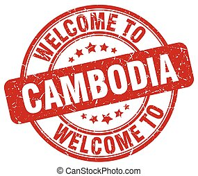 welcome to Cambodia red round vintage stamp