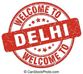 welcome to Delhi red round vintage stamp