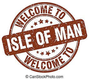 welcome to Isle Of Man brown round vintage stamp