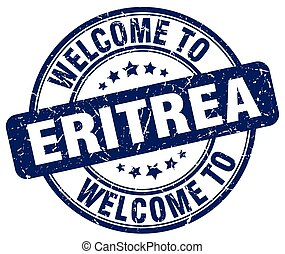 welcome to Eritrea blue round vintage stamp