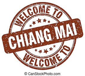 welcome to Chiang mai brown round vintage stamp