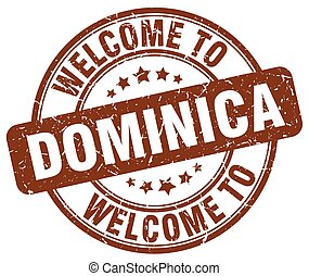welcome to Dominica brown round vintage stamp