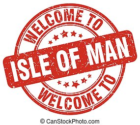 welcome to Isle Of Man red round vintage stamp