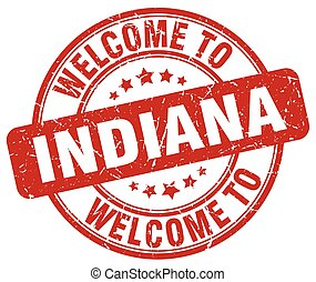 welcome to Indiana red round vintage stamp