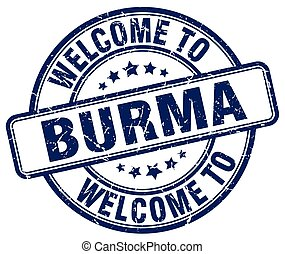 welcome to Burma blue round vintage stamp