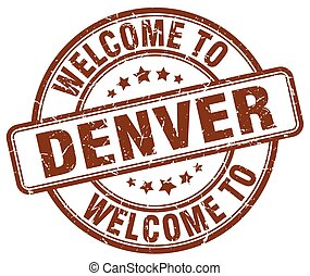 welcome to Denver brown round vintage stamp
