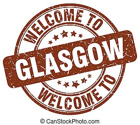 welcome to Glasgow brown round vintage stamp