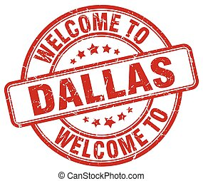 welcome to Dallas red round vintage stamp
