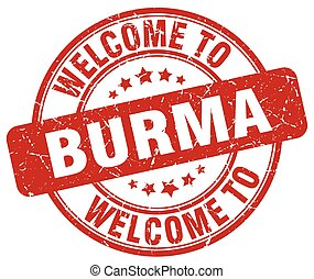 welcome to Burma red round vintage stamp
