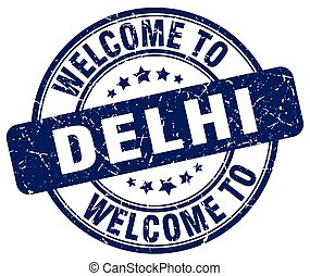 welcome to Delhi blue round vintage stamp