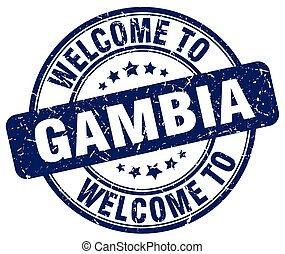 welcome to Gambia blue round vintage stamp