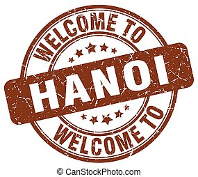 welcome to Hanoi brown round vintage stamp