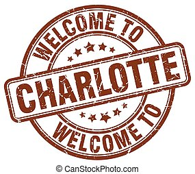 welcome to Charlotte brown round vintage stamp