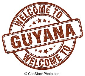 welcome to Guyana brown round vintage stamp