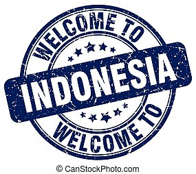 welcome to Indonesia blue round vintage stamp