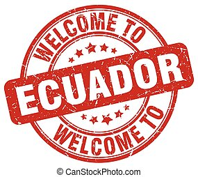 welcome to Ecuador red round vintage stamp