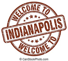welcome to Indianapolis brown round vintage stamp