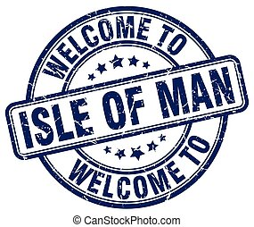 welcome to Isle Of Man blue round vintage stamp