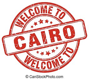 welcome to Cairo red round vintage stamp