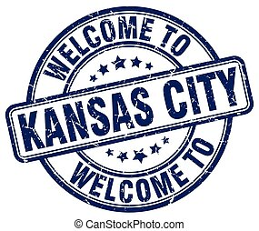 welcome to Kansas City blue round vintage stamp