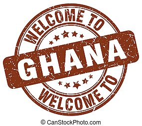 welcome to Ghana brown round vintage stamp