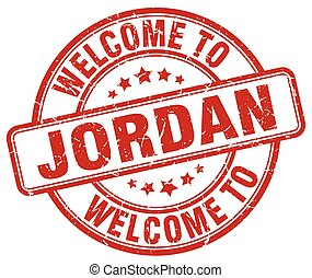 welcome to Jordan red round vintage stamp