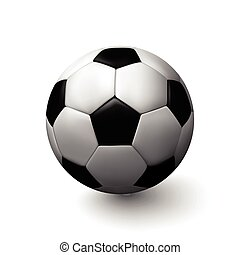 Vector soccer ball. Realistic illustration of leather ball.