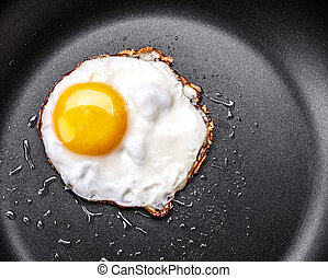 Fried egg in a frying pan - Fried one egg in a frying pan