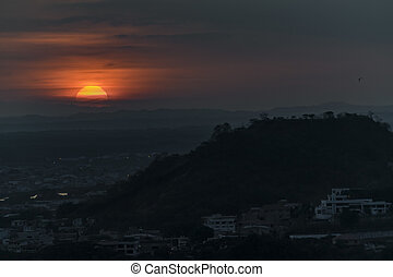 Guayaquil Aerial Landscape Sunset Scene - Aerial view sunset...