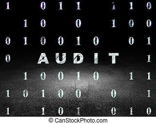 Finance concept: Audit in grunge dark room