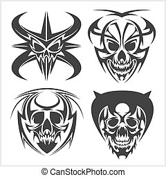 Set of tribal skulls for tattoo. Isolated on white.