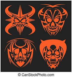Set of tribal skulls for tattoo Isolated on dark