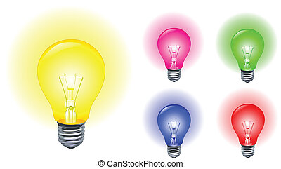 Light bulbs - Vector set of colorful light bulbs