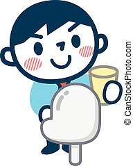 Men who urinalysis taken - Vector illustration.Original...