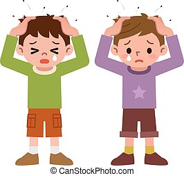 Lice and boys - Vector illustration.Original paintings and...