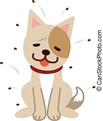 Lice and languid dog - Vector illustration.Original...