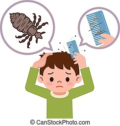 Boy comb the hair with a comb for lice - Vector...