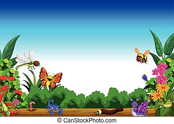 collection of insects in the flower