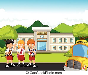 student with school bus - vector illustration of student...
