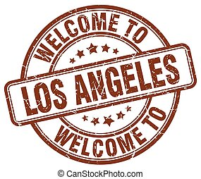 welcome to Los Angeles brown round vintage stamp