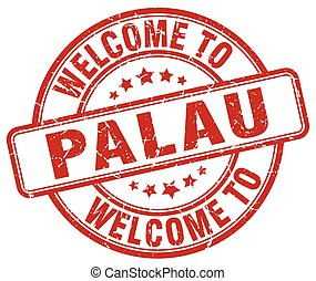 welcome to Palau red round vintage stamp