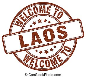 welcome to Laos brown round vintage stamp