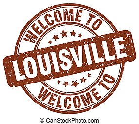 welcome to Louisville brown round vintage stamp
