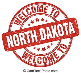 welcome to North Dakota red round vintage stamp