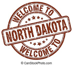 welcome to North Dakota brown round vintage stamp