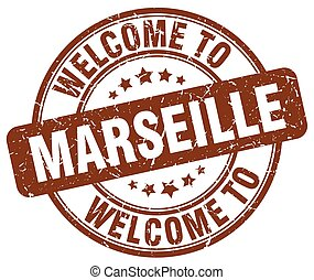 welcome to Marseille brown round vintage stamp