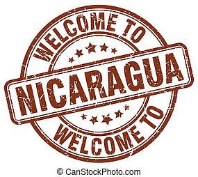 welcome to Nicaragua brown round vintage stamp