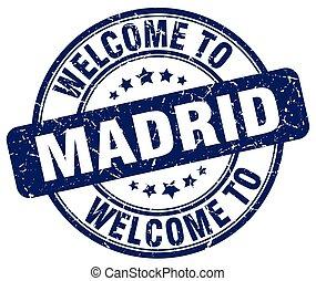 accueil, à, Madrid, bleu, rond, vendange, timbre