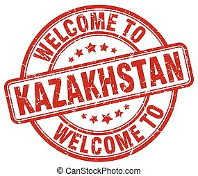 welcome to Kazakhstan red round vintage stamp