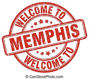 welcome to Memphis red round vintage stamp